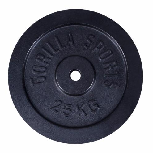 Valurautainen Levypaino 25kg Musta