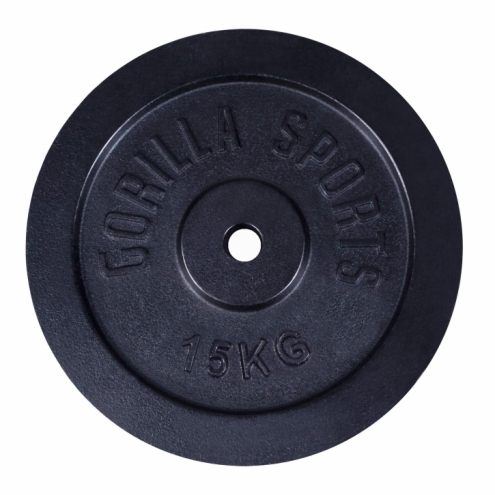 Valurautainen Levypaino 15kg Musta